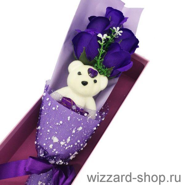 Букет Мыльных Роз С Мишкой В Коробке