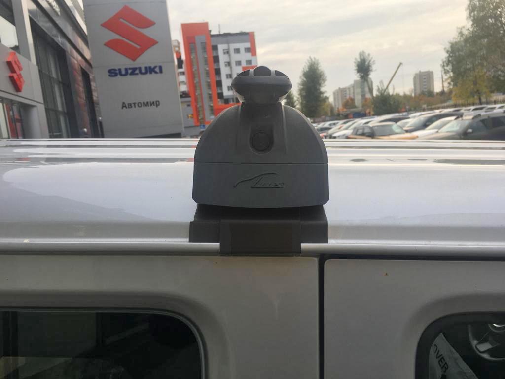 Багажник на крышу Suzuki Jimny 2018-..., с водостоками, Lux, аэродинамические дуги (53 мм)