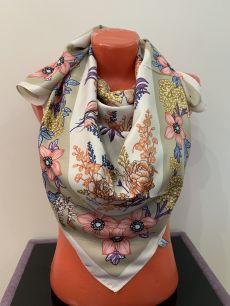 Шелковый платок Christian Dior с цветами, арт 048