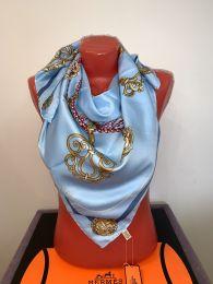 Шелковый платок Hermes (голубой) с цепями, арт. 046