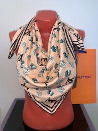 Шелковый платок  Louis Vuitton с логотипом (коралловый), арт. 045