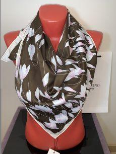 Шелковый платок Valentino коричневый с лилиями, арт. 031