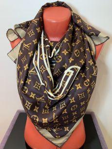 Шелковый платок Louis Vuitton коричневый с логотипом! арт. 028
