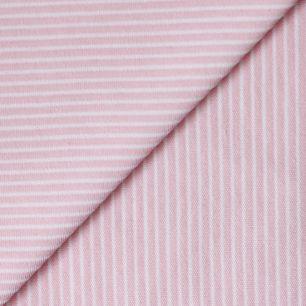 Лоскут трикотажной ткани Розовый в тонкую белую полосочку
