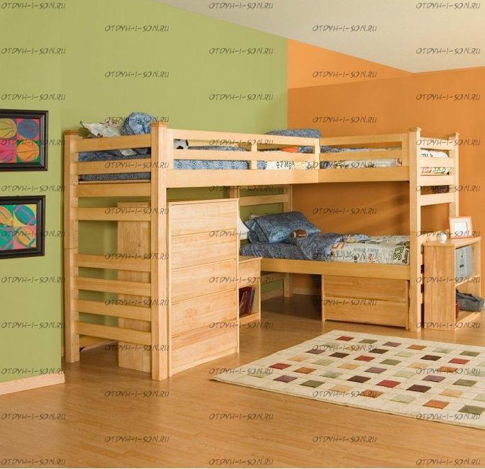 Кровать трехъярусная №21IR Массив