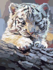 Картина по номерам «Бенгальский тигренок на бревне» 30x40 см