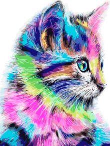 Алмазная мозаика «Разноцветная кошка» 40x50 см