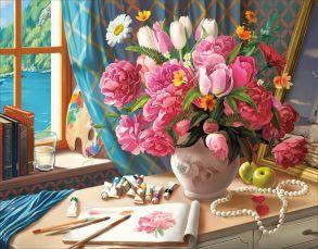Алмазная мозаика «Рабочий стол художника» 40x50 см