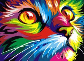 Алмазная мозаика «Радужный кот» 30x40см.