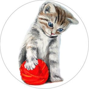 Вышивка крестиком «Котенок с красным клубком» 21x21.