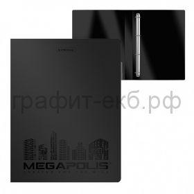Папка А4 3,5см 4к.Megapolis ErichKrause черная 46008
