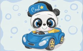 Алмазная мозаика «Панда в машине» 20x30 см