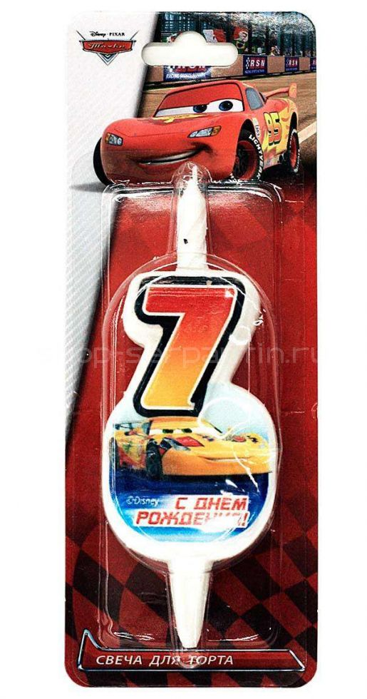 Свеча для торта «Цифра 7» Disney «Тачки»