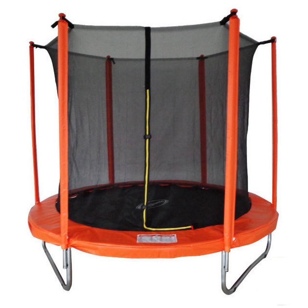 Батут SportElite 2,44м с защитной сеткой внутрь, оранжевый, лестница