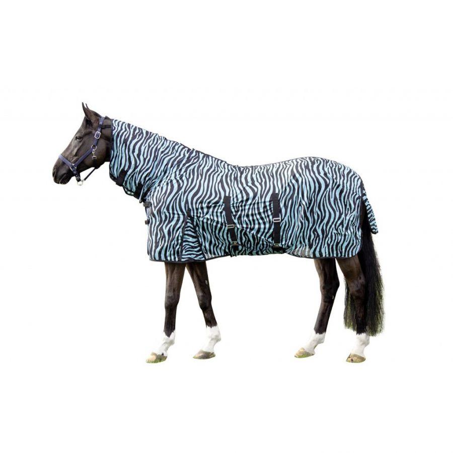Антимоскитная попона с капором и фартуком -Zebra Aqua- HKM