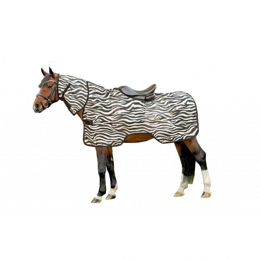 Антимоскитная попона с капором. Под седло -Zebra- HKM