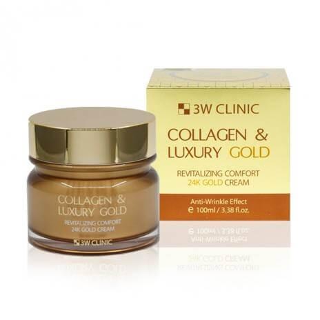 3W CLINIC Collagen & Luxury Gold Cream Омолаживающий крем для лица с коллагеном и коллоидным золотом