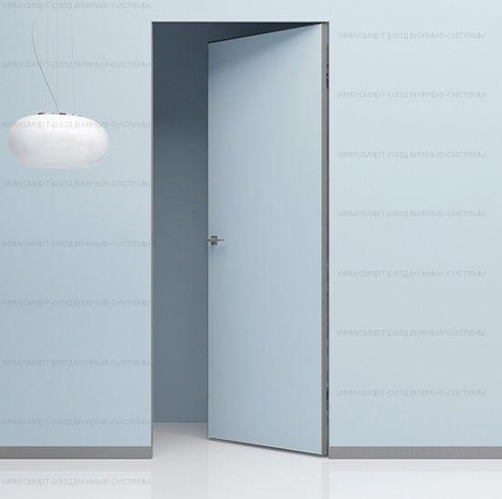 Скрытая дверь полотно на АЛЮМИНИЕВОМ каркасе  ВНУТРЕННЕГО открывания. Высота от 2000 до 2700 в наличии!