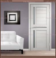 Межкомнатная дверь DUPLEX 3 Дуб белый, стекло - Мателюкс :