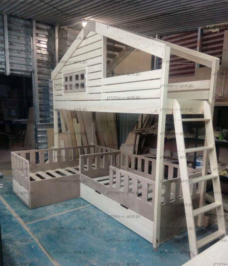 Кровать трехъярусная домик Roof
