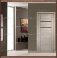 Межкомнатная дверь LINEA 1  Капучино, стекло - ЛАКОБЕЛЬ Чёрное :