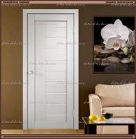 Межкомнатная дверь LINEA 3  Дуб белый, стекло - Мателюкс :