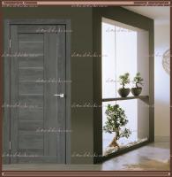 Межкомнатная дверь LINEA 3  Дуб Шале Графит, стекло - Мателюкс :
