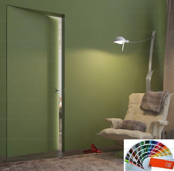Скрытая дверь с полотном по шкале RAL ВНУТРЕННЕГО открывания. Высота от 2000 до 2300 в наличии!