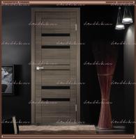 Межкомнатная дверь LINEA 6  Дуб серый поперечный, стекло - ЛАКОБЕЛЬ Чёрное :