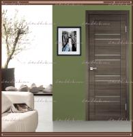 Межкомнатная дверь LINEA 8  Дуб серый поперечный, стекло - Мателюкс :
