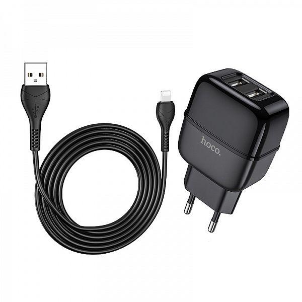Зарядное устройство с USB HOCO C77A Черный iOS Lightning (2400mA,5V)