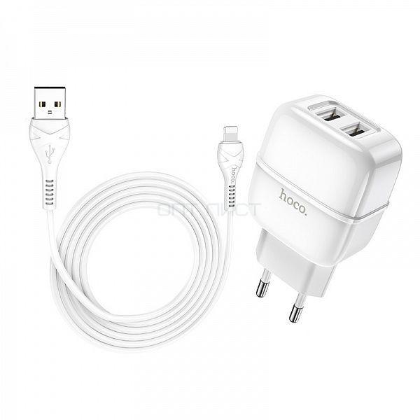 Зарядное устройство с USB HOCO C77A Белый iOS Lightning (2400mA,5V)