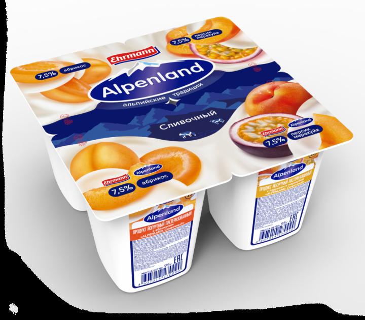Йогурт Alpenland 7.5% абр/перс/марак 95г ООО Эрманн