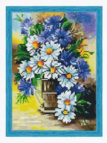 Алмазная мозаика «Букет ромашек с васильками» 30x40см.