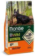 Monge Dog BWild Grain Free Mini Duck Беззерновой корм из мяса утки с картофелем для взрослых собак мелких пород (2,5 кг)