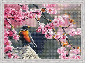 Алмазная мозаика «Весенняя птичка» 30x40см.