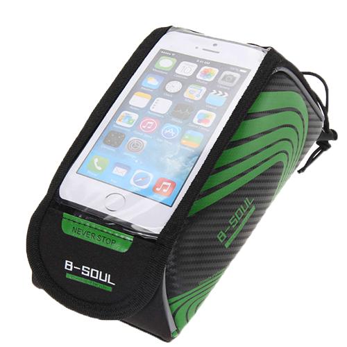 Велосипедная сумка на раму под смартфон B-Soul, 21х9,5х9,5 см. Цвет: зеленый.