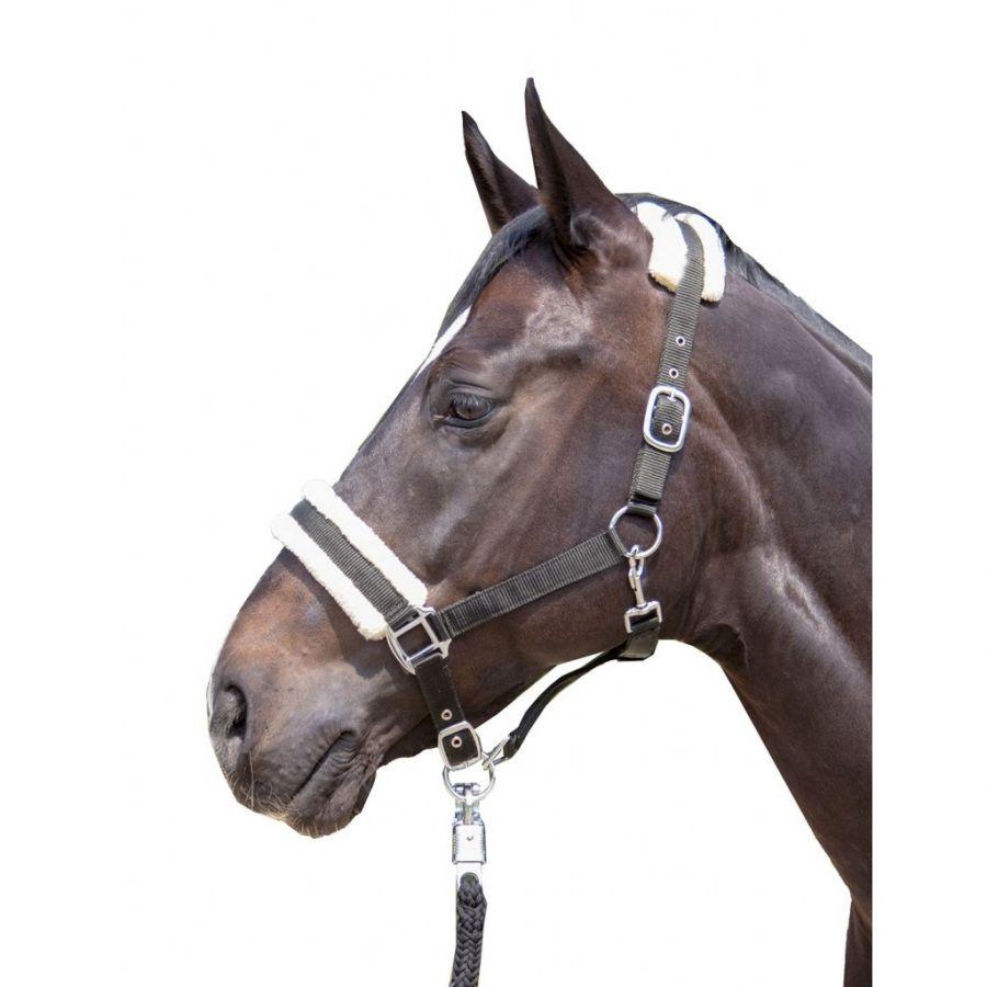 Недоуздок -Bischofshofen- HKM с меховой подложкой черный, серый пони