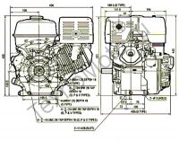 Двигатель Erma Power GX460E D25(18 л. с.) присоединительные размеры. texnomoto.ru