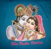 Голубая индийская футболка с изображением Кришны и Радхи, купить в интернет магазине, Москва