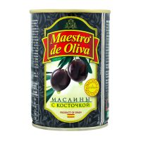 Маслины MAESTRO DE OLIVA с косточкой, ж/б, 280 г