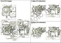 Двигатель Erma Power GX270 D25(9 л. с.) присоединительные размеры