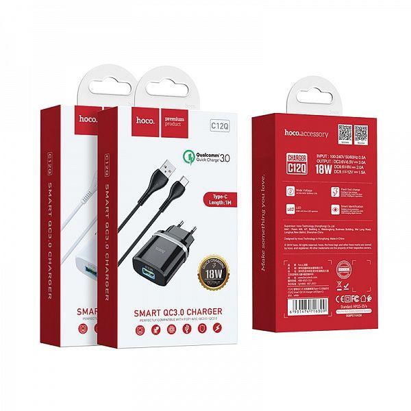 Зарядное устройство с USB HOCO C12Q TYPE-C Черный (QC3.0,3000mA)