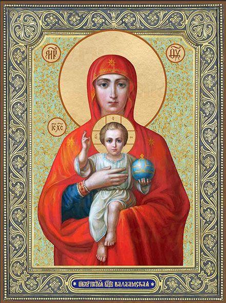 Валаамская икона Божией Матери (поясная)