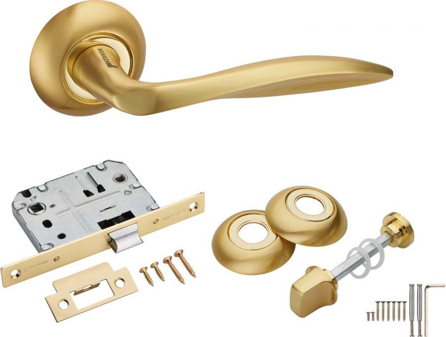 Комплект сантехнический KWC-9004 SG/GP, Kerron, матовое золото/золото