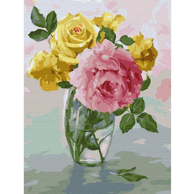 Картина по номерам Бузин.Пионы и розы 30*40 см KK0061