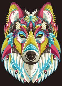 Алмазная мозаика «Радужный волк» 30x40 см