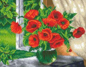 Алмазная мозаика «Маки в вазе» 40x50см.