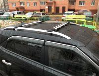 Багажник на рейлинги Hyundai Creta, Lux Hunter, серебристый, крыловидные аэродуги