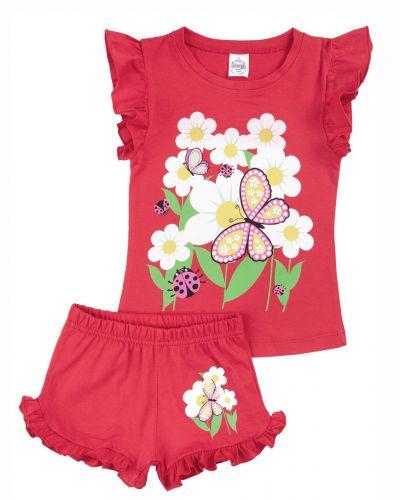 """Костюм для девочек 1-4 лет Bonito kids """"flowers"""" красный"""